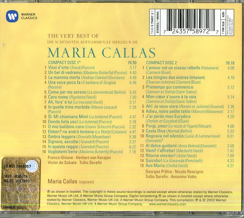 THE VERY BEST OF SINGERS: MARIA CAL
