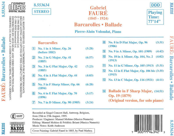 BARCAROLA N.1 > N.13, BALLATA OP.19